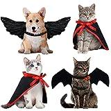 4 Piezas Set de Disfraces de Mascota de Halloween Ala de Ángel Ala de Murciélago de Cosplay, 2 Capas de Vampiro Accesorio Ropa Divertido de Perro Gato Mascota de Fiesta (Negro)