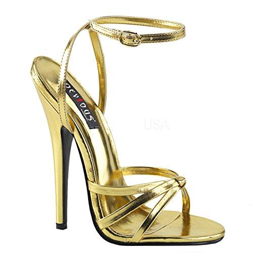 Higher-Heels PleaserUSA Damen Sandaletten Domina-108 mattgold Gr. 47