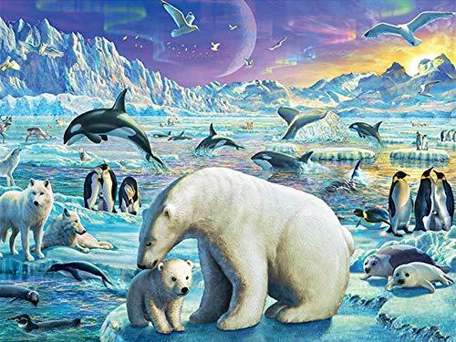 Diamant schilderij 5D DIY diamant rond diamant ijsbeer pinguïn 40 x 30 cm mozaïek decoratie accessoires voor thuis wanddecoratie
