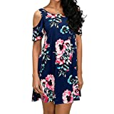 Misyula Style Cute Dresses for Women, Juniors Bohemian Dress Vacation Aesthetic Flexible Relaxed Vintage Zulily Round Neck Cold Shoulder Above Knee Flattering Outfits Blue Flower L