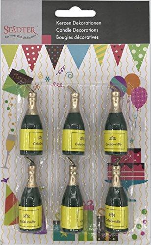 6 Minikerzen * Champagner * für Silvester, Party und Geburtstag // Kerzen Kuchen Torte Deko Tischdeko Candle Champagne Flaschen Bottle