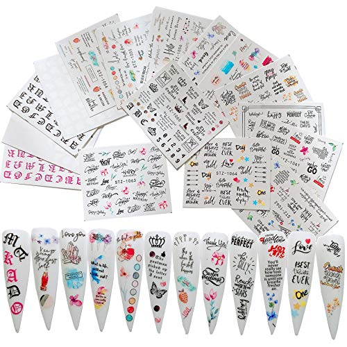 NAIL ANGEL 16sheets Nail Art Water Decals Water Transfer Sticker Different Letter Alphabet Words Designs Decals for fingernail and toenail Manicure 10259