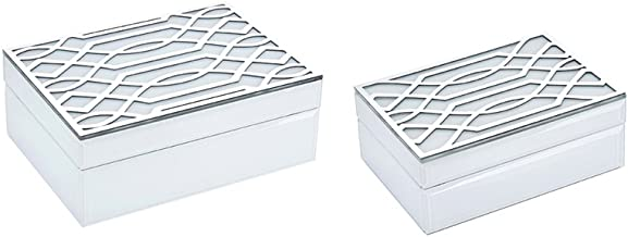 Benzara Stylish Wood and Glass Storage, White & Silver, Set of 2 Wooden Box, 9.75 x 7 x 3.5 inches, White and Silver
