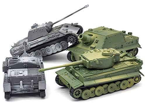 Kvvdi 4 Sets Upgrade 3D Puzzles Plastic Model Tank Kit for Adults, Military Tiger Tank Model for Early Learning Kids, Premium Scale Model Tanks Kits Collection for Teens
