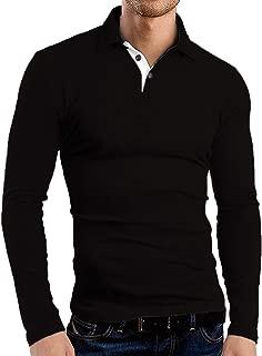 Men's Long Sleeve Polo Shirts Casual Slim Fit Basic Designed Cotton Shirts