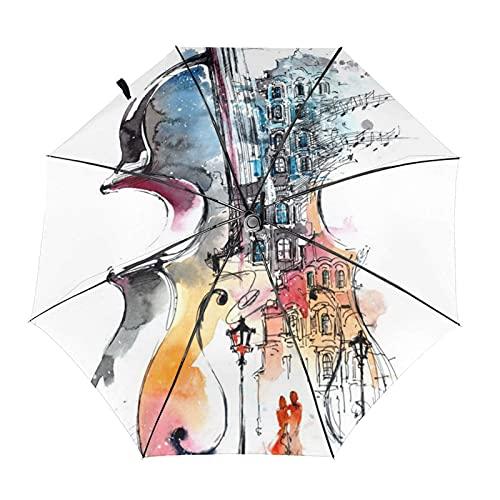 Donono Automatico Tri-Fold Ombrello 3d Stampa Violino Pittura Romantica Città Antivento Protezione Uv Pioggia Ombrelli Interno Stampa Per Esterno
