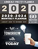 5 year monthly planner 2020-2024: 5 year calendar planner for planning short term to long term goals | easy to use and overview your plan | light tomorrow with today design