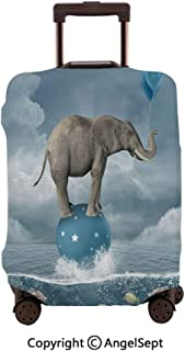 Washable Polyster Travel Luggage Protector,Elephant with Balloons on Sea Fish Fantasy Circus Animal Balance Surreal Blue White Grey,19.3x27.6inches,Fashion Baggage Suitcase Cover