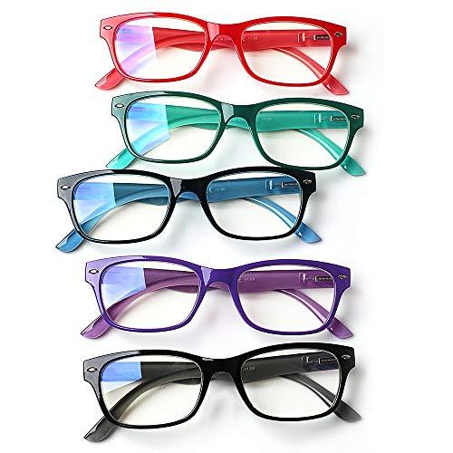 SIGVAN 5-Pack Reading Glasses Blue Light Blocking,Anti UV Ray ...