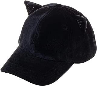 Sequin Cat Ear Adjustable Velcro Back Ball Cap Hat