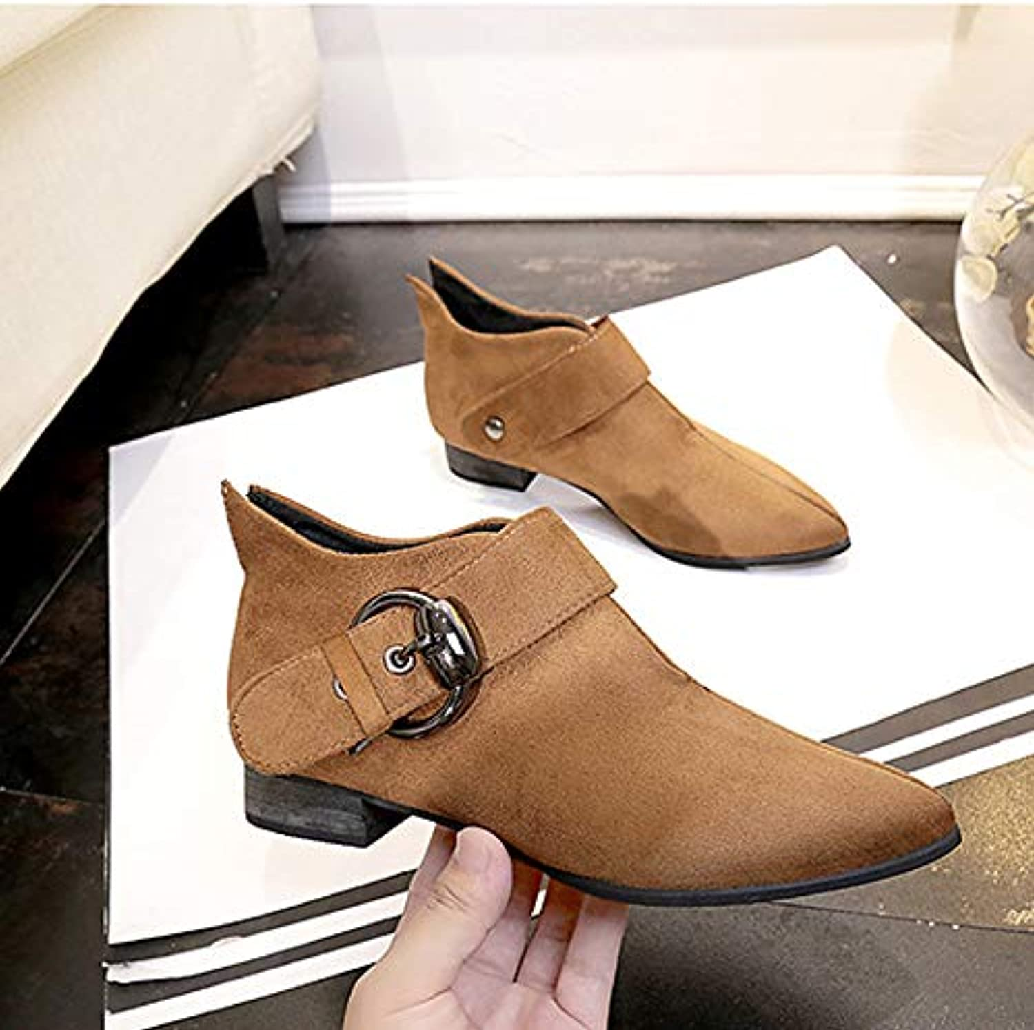 Women's Combat Boots Suede Fall Casual Boots Chunky Heel Pointed Toe Booties Ankle Boots Buckle Black Brown Party & Evening