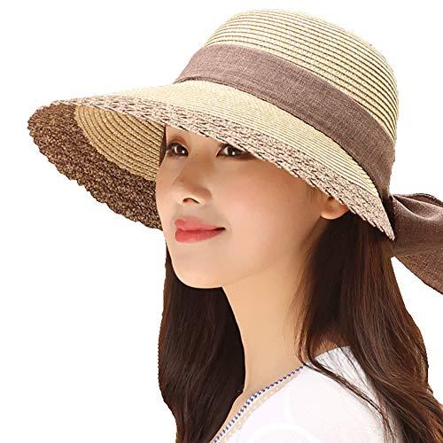 Sombrero de Sol para Mujer, Sombrero de Paja Nudo de Arco, Sombrero de Playa Ancho Solar de ala Ancha para Mujer, Sombrero Sandalia Tejido Transpirable, Plegable, Protección UV, UPF50 +,1