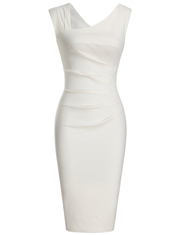 White Dress - Women's 50s 60s Vintage Sleeveless V-Neck Cocktail Swing Dress
