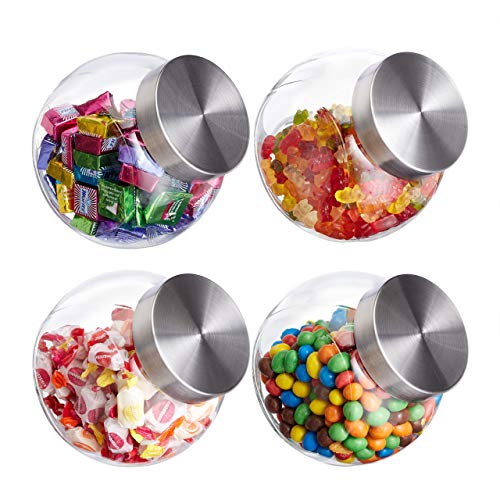 Relaxdays Bonbongläser, 4er Set, 1,5 l, Vorratsgläser für Süßigkeiten, Lebensmittel, Candy Bar, Edelstahl-Deckel, klar