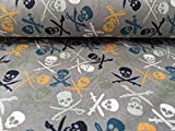 Jersey, bunte Piraten Totenköpfe auf Grau als Meterware,