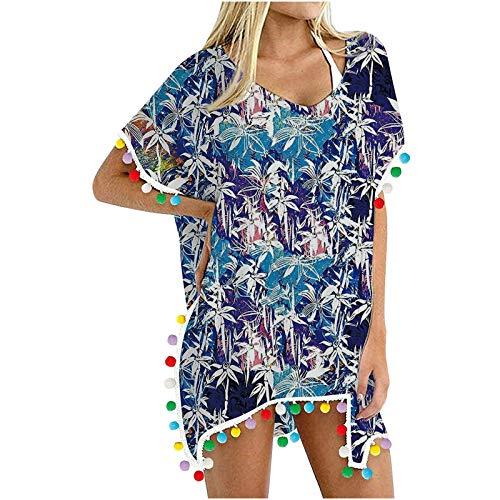 Traje de baño de Mujer,Vestido de Playa Mujer Blusas Chales Camisolas y Pareos Trajes de baño Sexy Bikini Cover ups Borla Camisola Playero Ropa Verano
