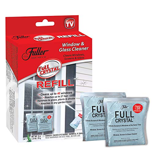 Full Crystal Refill Kit - Two 4 Oz. Crystal Powder Exterior Window Cleaner Packets for Glass and Screens (Cleans Up to 40 Windows)