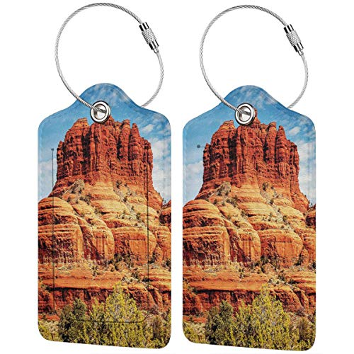 SIONOLY Luggage Tag with Privacy Cover,Famous Bell Rock and Courthouse Butte in Sedona Arizona USA Nature Desert,Baggage Labels, Suitcase ID Tags for Travel Suitcases Handbags,(4 pcs)