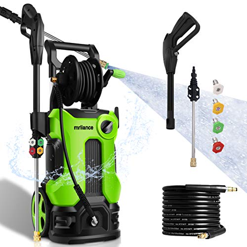 3800PSI Pressure Washer 2.8GPM Electric Power Washer 2000W High Pressure Cleaner Machine with 4 Nozzles Foam Cannon,Best for Cleaning Homes, Cars, Driveways, Patios, Fences, Garden (Green)