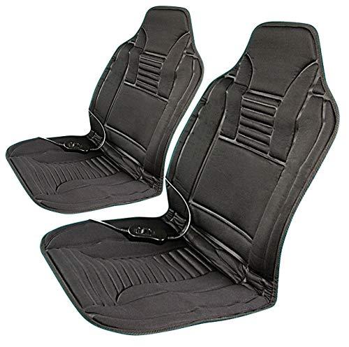 Lescars Autositzbezüge: 2er-Set beheizbare Kfz-Sitzauflagen mit Temperaturregler, 12 Volt (Auto-Sitzheizung-Auflage)