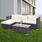 OUTDOOR DIAMOND 5-Piece Rattan Sectional Sofa,Outdoor Wicker Patio Set, Lawn Conversation Furniture with Cushion and Glass Table (Grey+Beige)