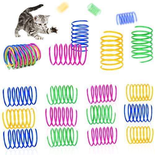 GLOBALDREAM Giochi a Molla per Gatti, 36 Pezzi Colorato Giocattolo Molle per Gatti Molle Giocatolo per Gatti per Gatti Regalo di novità per Gattino e Animali Domestici