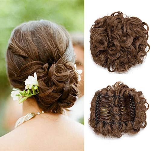 Chignon Hair Extension Curly - Marrón - Moño Updo con peines Scrunchie Hair Hairpiece rizado Cola de caballo 90g