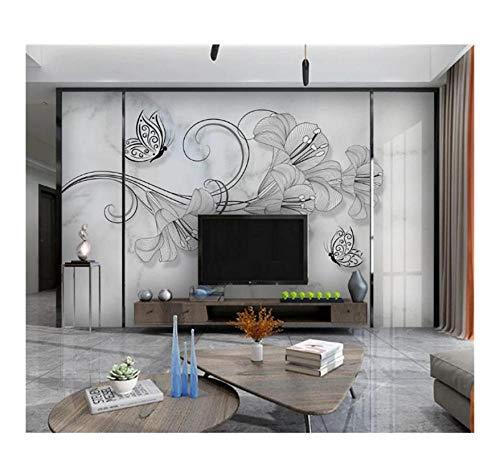 3D Wallpaper Nordic Minimalist Kreative, Handgemalte Blumen Schmetterling Jazz Wandbild, Weißes Marmormuster Hd Superior 320X220Cm (125.98X86.61In)