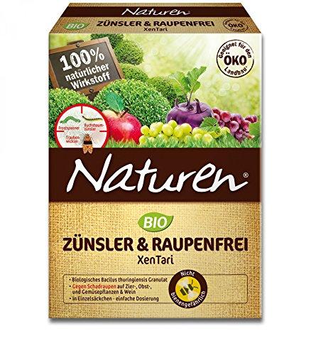 Naturen Zünsler und Raupenfrei XenTari, Hoch wirksames biologisches Präparat zur Bekämpfung von Buchsbaumzünsler an Buchsbäumen und Schadraupen an Zierpflanzen, Obst, Gemüse, 16 x 2,5 g Portionsbeutel