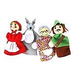 4pcs / Set Dedo Caperucita Roja De Animales De Navidad Marioneta del Dedo Juguetes Educativos Cuentacuentos Muñeca De La Historieta Marionetas De Animales Marionetas del Dedo De Los Cabritos del