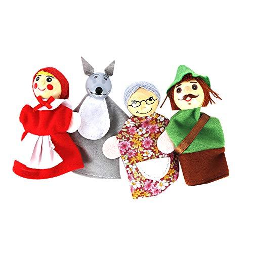 Hilai 4pcs Caperucita Roja de Animales Títeres de Juguetes educativos muñeca de Dibujos Animados Cuentacuentos Marionetas de los Cabritos del Terciopelo Suave de la Historia del Dedo