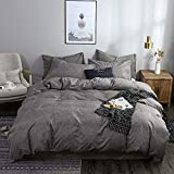 OLDBIAO Ropa de cama gris 220 x 240 cm + 2 fundas de almohada de 80 x 80 cm, funda de edredón para cama doble con cremallera, color antracita