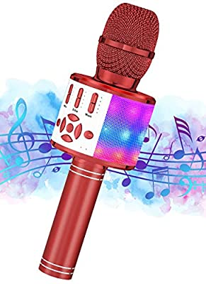 Karaoke Wireless Microphone, Ankuka Handheld Microphone, Portable Speaker Karaoke Machine Home KTV Player for Android/iOS, Record Function, Dancing LED Lights,Red