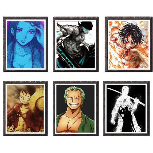 OP Pirat Luffy Robin Zoro Digital Anime Bild Wand Kunst Druck Dekor 8 x 25 cm, ohne Rahmen, Set von 6 Stück