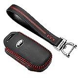 Luckeasy Key2yks Leder-Autoschlüsselhülle, Schlüsselhülle, Schlüsseltasche, Rote Naht, 2P