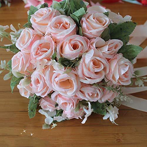 QWEASD simulatie kunstmatige bloemen van tenuta bruid bruid bloesem fotografie bruiloft kanten cadeau verjaardag English Rose Powder Champagne