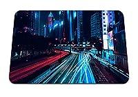 26cmx21cm マウスパッド (夜の街超高層ビル道路交通量ワンチャイ香港) パターンカスタムの マウスパッド