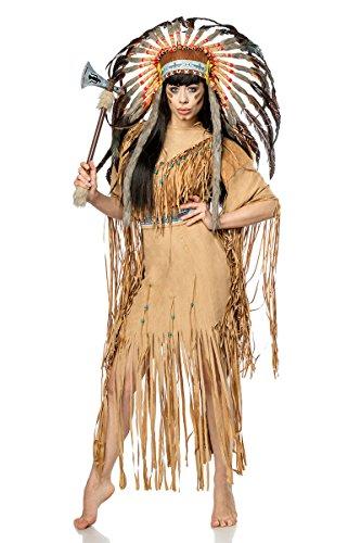 Generique - 80108-086 Hochwertiges Indianer-Kostüm für Damen Karneval braun-schwarz L (40), Beige
