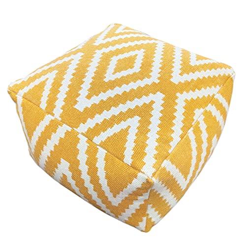 casamia Sitzwürfel 2. Wahl Fußhocker Sitzhocker 55x37x55 cm Pouf Kelim Bodenkissen quadratisch Peru gelb