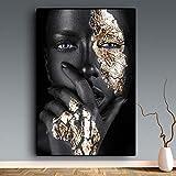 ganlanshu Schwarzes Gold afrikanisches Frauenölgemälde-Wandkunstplakat auf Leinwand für...
