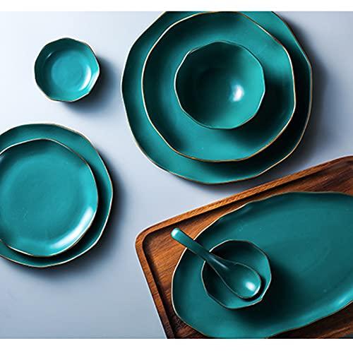 FKZX Tazón de Ensalada de Placa de Filete de cerámica de Estilo nórdico, Placa de llanta Verde Dorada, Conjunto Simple para el hogar Simple Dark Green-#9