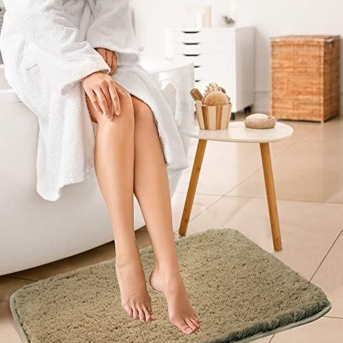 ALAYRAC Bath Mat for Bathroom Thick Non-Slip Bath Rags Strong Absorbent Shaggy Shower Rug Carpet ( Brown, 20x32, Machine Washable)