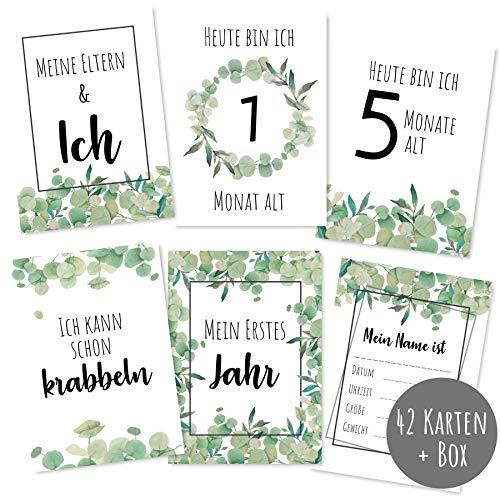 Meilensteinkarten Baby (42 Stück) - Meilenstein Karten neutral für Mädchen und Junge als Geschenk zur Geburt - Milestone Cards Geschenke zur Schwangerschaft - Babygeschenke zur Babyparty - Grün 42