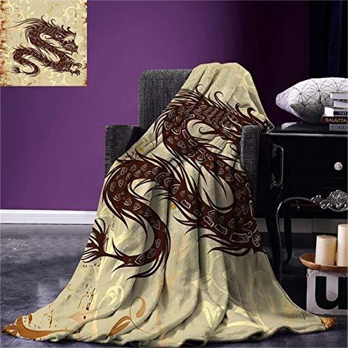 LILANG Manta Cálida Manta de Tiro de dragón japonés Estilo de Papel Antiguo Fondo de Grunge con Figura mágica asiática Antigua Microfibra cálida 150x200cm