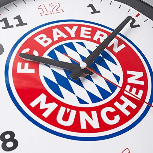 FC Bayern München Stylische Wanduhr/Uhr/Wall Clock mit Quarzuhrwerk Ø 35 cm FCB - Plus gratis Aufkleber Forever München