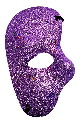 Halfgelaatsmasker - fantoom van de opera - gekleurd met - kostuum - vermomming - carnaval - halloween - origineel idee voor een verjaardagscadeau voor kerstmis - paars glitter cosplay