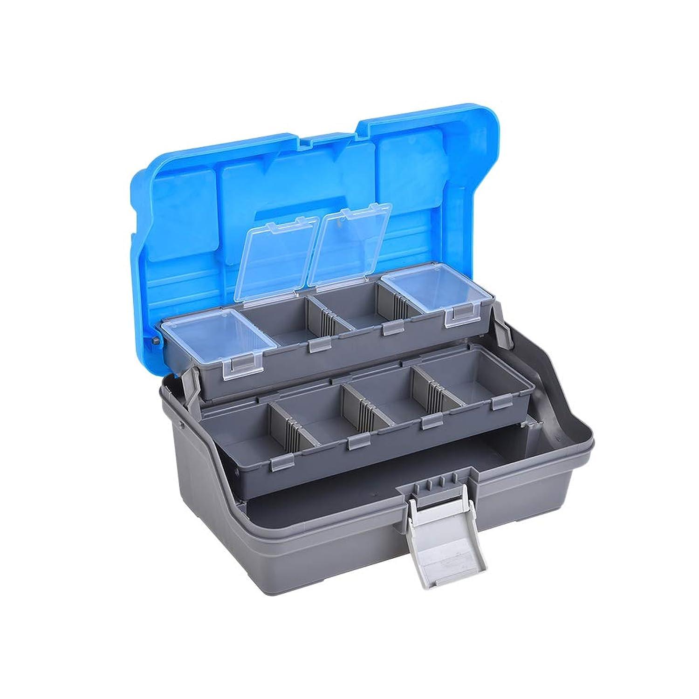LIOOBO ハンドヘルド釣り道具箱釣り餌ツールボックス耐衝撃性収納(青)