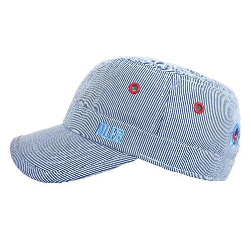 Baseball Flat Caps Kappe Baby Kind Junge Stickerei Streifen Baumwolle Frühling Sommer Sonnenhut, 53cm, Blau