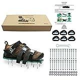 Aireador de césped zapatos con clavos Heavy Duty Sandalias Hebillas de metal y 3 correas para airear el césped o Patio