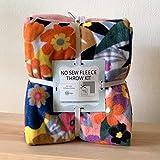 Floral Blossoms Anti-Pill No-Sew Throw Fleece Fabric Kit (72x60)
